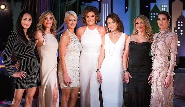 The <em>Real Housewives of New York City</em> reunion, left to right, Julianne Wainstein, Sonja Morgan, Dorinda Medley, Luann de Lesseps, Bethenny Frankel, Ramona Singer, and Carole Radziwill  (Photo by: Charles Sykes/Bravo/NBCU Photo Bank via Getty Images)