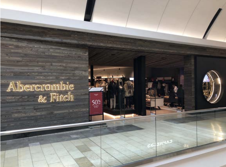 The new look of Abercrombie & Fitch. A recently remodeled store at Garden State Plaza mall in New Jersey.