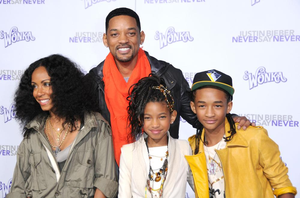 """Actress Jada Pinkett-Smith, actor Will Smith, singer Willow Smith and actor Jaden Smith arrive at the Los Angeles Premiere """"Justin Bieber: Never Say Never"""" at Nokia Theatre L.A. Live on February 8, 2011 in Los Angeles, California.  (Photo by Barry King/FilmMagic)"""