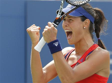 Ana Ivanovic of Serbia reacts after defeating Christina McHale of the U.S. at the U.S. Open tennis championships in New York August 31, 2013. REUTERS/Ray Stubblebine