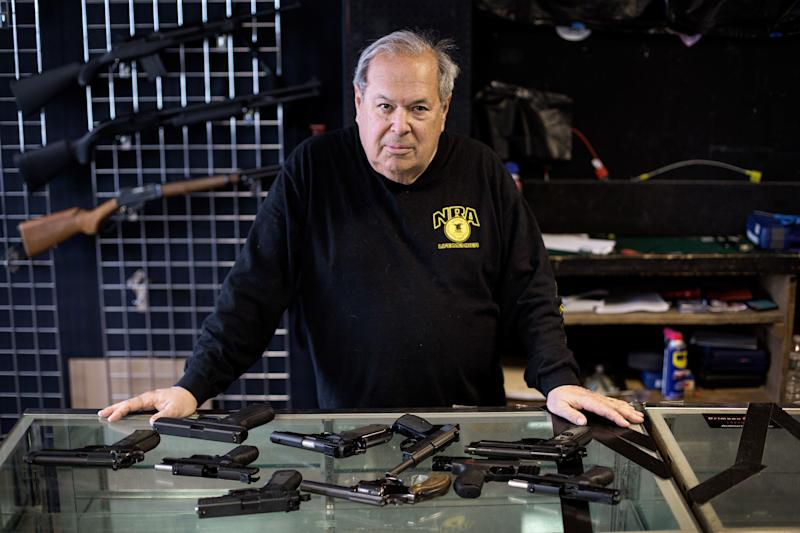 "Mike Weisser, a gun dealer based in Ware, Massachusetts, says the AR-15 rifles used in many mass shootings aren't sporting guns, as the industry claims. ""They're designed to kill people,"" he said."