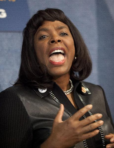 Rep. Terri Sewell, D-Ala. gestures as she speaks during a news conference at the National Press Club in Washington, Tuesday, Jan. 22, 2013, to announce plans to ask for the Congressional Gold Medal for the four little girls killed in the 1963 bombing at the 16th Street Church in Birmingham, Ala. (AP Photo/ Evan Vucci)