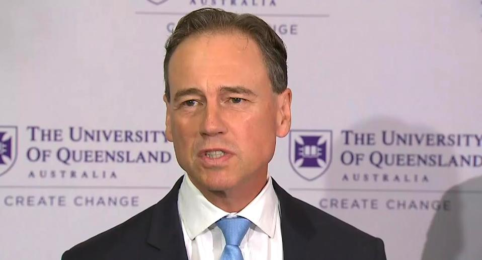 Federal Health Minister Greg Hunt says the University of Queensland's vaccine is on course for a third quarter roll out next year. Source: Nine