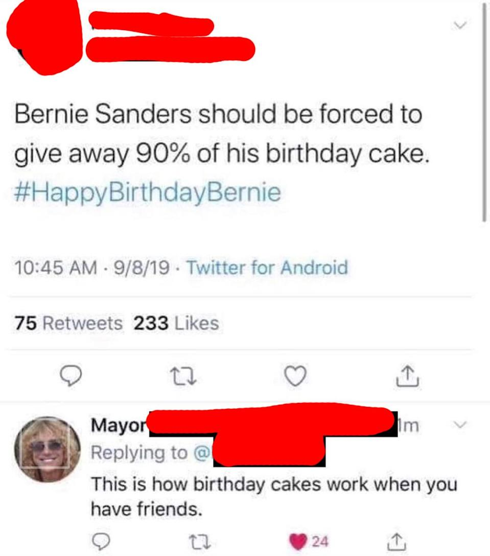 person who says Bernie should give away all his birthday cake for his birthday and other person replies that's how birthdays work