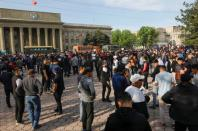 Protesters hold a rally in support of the southern Batken province's residents following clashes with Tajik troops in Bishkek