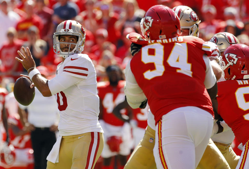 San Francisco 49ers quarterback Jimmy Garoppolo left Sunday's game with a knee injury. (AP)