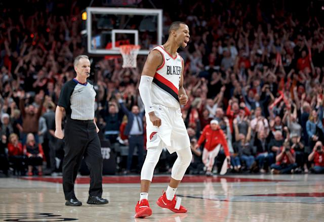 Rodney Hood scored 7 clutch points in quadruple overtime to help the Blazers topple the Nuggets in Game 3 (AP Photo/Craig Mitchelldyer)