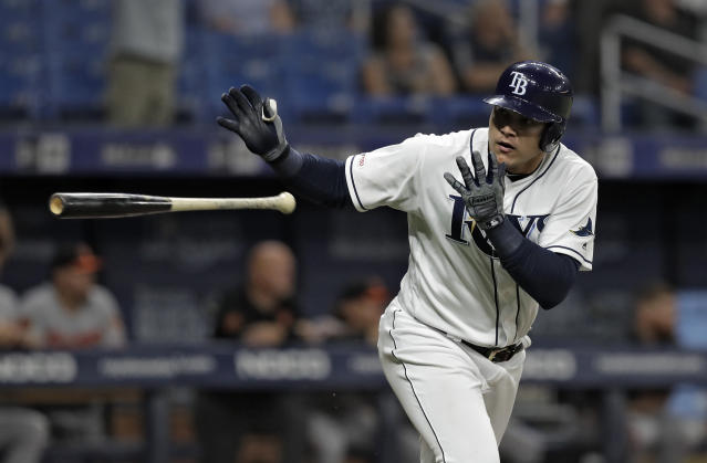 Tampa Bay Rays' Avisail Garcia flips his bat after hitting a home run off Baltimore Orioles relief pitcher Mychal Givens during the ninth inning of a baseball game Thursday, April 18, 2019, in St. Petersburg, Fla. (AP Photo/Chris O'Meara)
