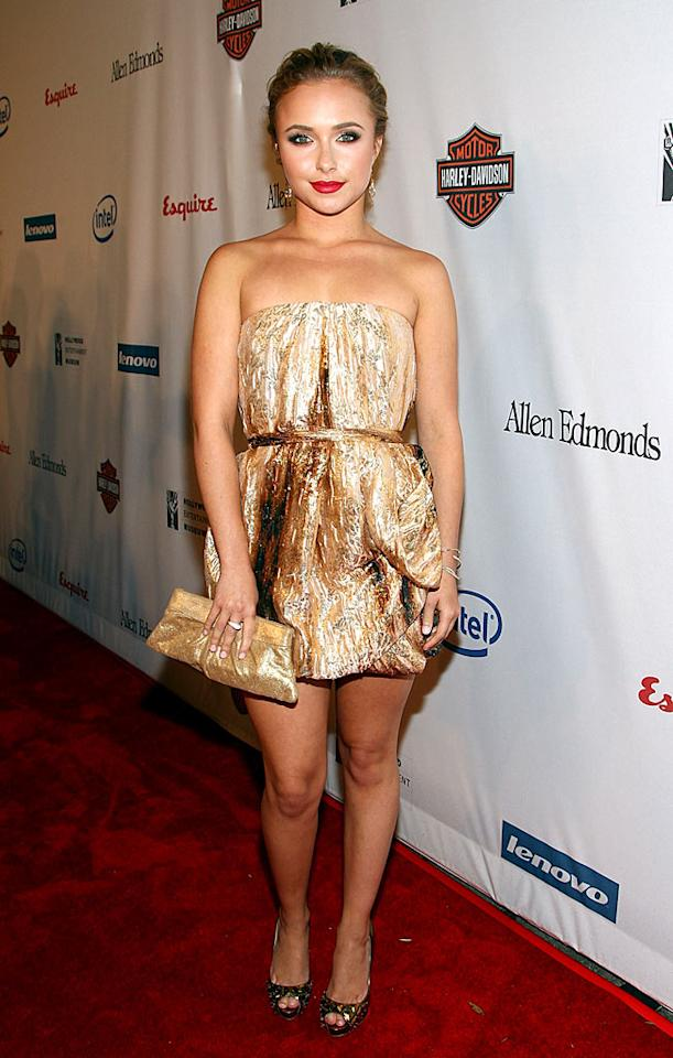 """Heroes"" hottie Hayden Panettiere leaves little to the imagination in a putrid Ports 1961 mini dress. Not even her Louboutin Bling Bling stilettos can save the day. Alberto E. Rodriguez/<a href=""http://www.gettyimages.com/"" target=""new"">GettyImages.com</a> - November 1, 2008"