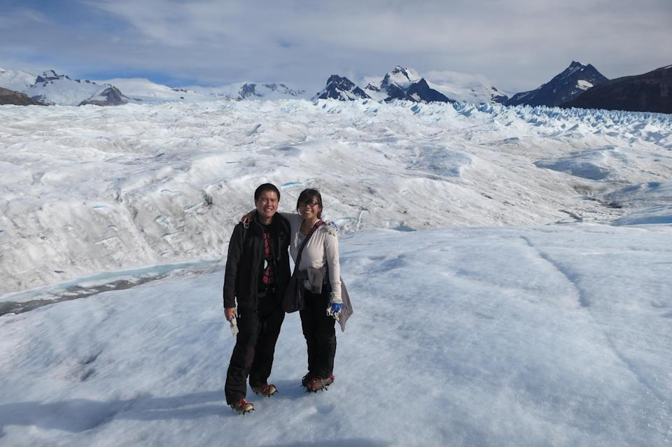 Us hiking Big Ice in the Perito Moreno National Park in Argentina