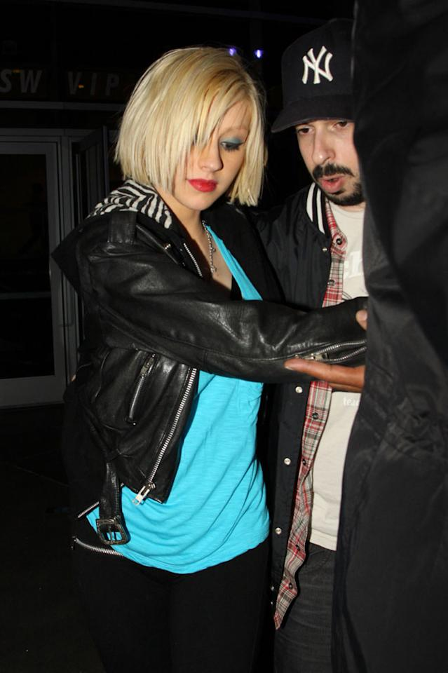 "Also spotted at the star-studded singalong ... pop diva Christina Aguilera, who was accompanied by her record exec hubby, Jordan Bratman. David Tonnessen/<a href=""http://www.pacificcoastnews.com/"" target=""new"">PacificCoastNews.com</a> - March 26, 2010"