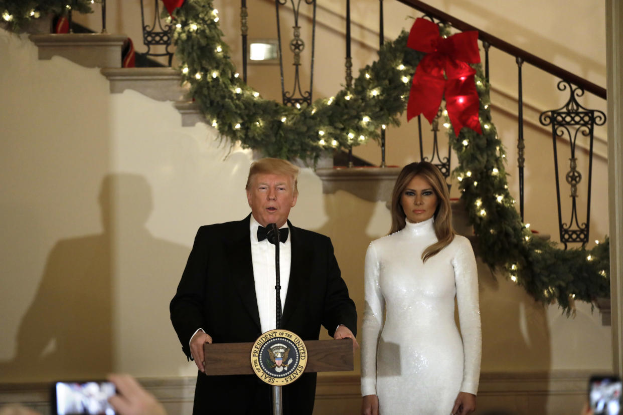 The 48-year-old accepted her husband's praise for her highly-controversial Christmas decorations, with a slight smile. Photo: Getty Images