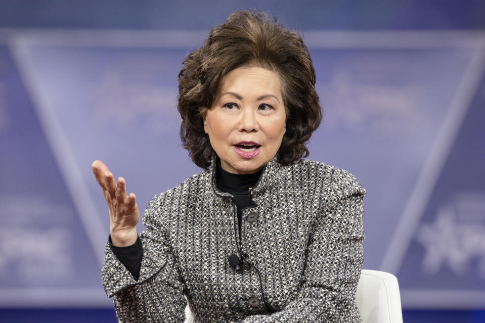 Elaine Chao speaks during the Conservative Political Action Conference in Maryland, Feb. 28, 2020. (Photo by Samuel Corum/Getty Images)
