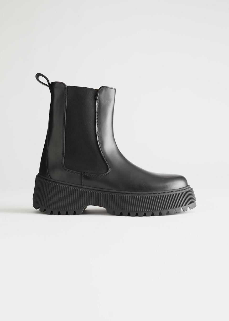 "I'm a winter baby so I'm happy that boot weather is back! This year, the chunkier the better for me. I'm not sure if it's the authority they command or that they simply give me a bit of extra height (I'm only 5ft) but I'll be adding these platform boots to my basket come payday. They'll look cool with my trusty black jumper dress.<br><br><br><strong>& Other Stories</strong> Chunky Leather Chelsea Boots, $, available at <a href=""https://www.stories.com/en_gbp/shoes/boots/chelseaboots/product.chunky-leather-chelsea-boots-black.0893530001.html"" rel=""nofollow noopener"" target=""_blank"" data-ylk=""slk:& Other Stories"" class=""link rapid-noclick-resp"">& Other Stories</a>"