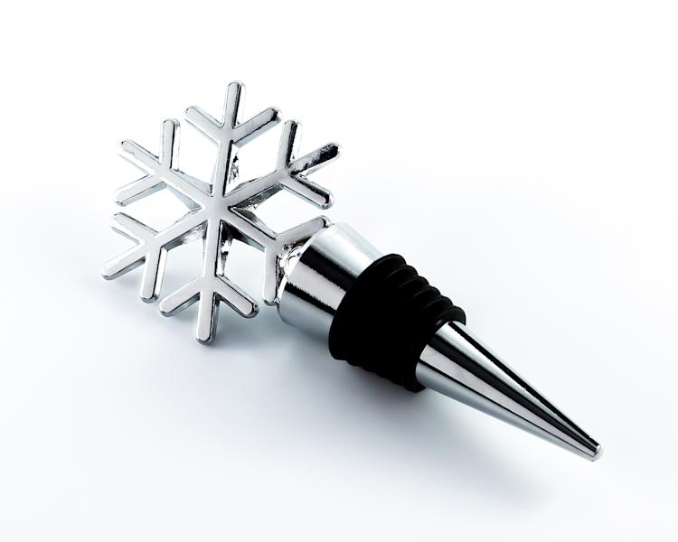 This undated product image provided by Beau-coup.com shows a snowflake shaped wine bottle topper that is a useful yet inexpensive gift. (AP Photo/Beau-coup.com)