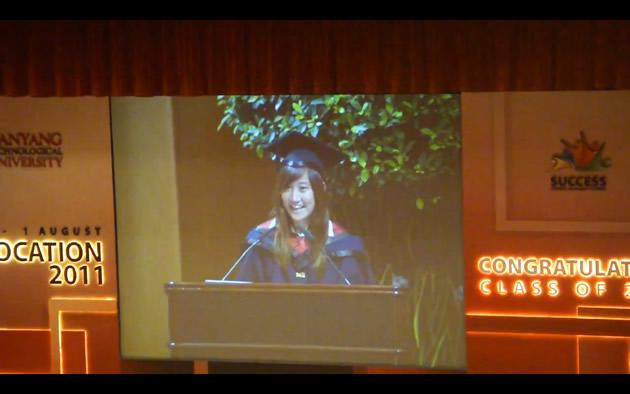 Communication Studies valedictorian Trinetta Chong delivers her speech at the graduating batch's convocation ceremony. (Screengrab: YouTube)