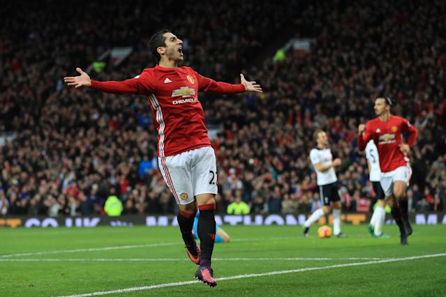 """<a class=""""link rapid-noclick-resp"""" href=""""/soccer/players/henrikh-mkhitaryan/"""" data-ylk=""""slk:Henrikh Mkhitaryan"""">Henrikh Mkhitaryan</a> might have played his last game at <a class=""""link rapid-noclick-resp"""" href=""""/soccer/teams/manchester-united/"""" data-ylk=""""slk:Manchester United"""">Manchester United</a> – if, that is, he can agree to a deal with <a class=""""link rapid-noclick-resp"""" href=""""/soccer/teams/arsenal/"""" data-ylk=""""slk:Arsenal"""">Arsenal</a>. (Getty)"""