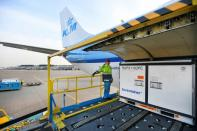 Cool boxes are being transported by airplane at Amsterdam's Schiphol Airport