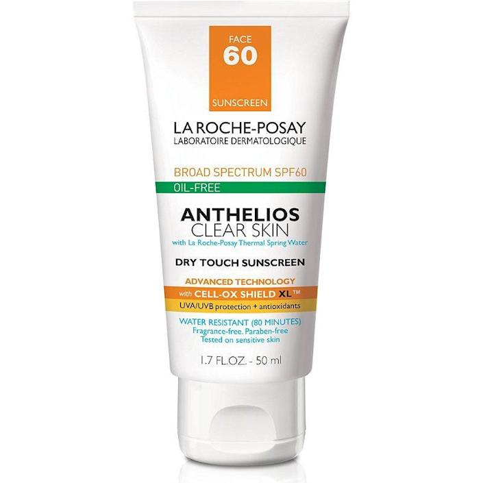 """<p>Formulated with acne-prone skin in mind, La Roche-Posay's Anthelios Clear Skin SPF 60+ Dry Touch Sunscreen imparts a matte, shine-free, and oil-free finish that doesn't clog pores and turn into a breeding ground for breakouts. This 2020 <em>Allure</em> Best of Beauty winner contains silica and <a href=""""https://www.ewg.org/skindeep/ingredients/722123-PERLITE/"""" rel=""""nofollow noopener"""" target=""""_blank"""" data-ylk=""""slk:perlite"""" class=""""link rapid-noclick-resp"""">perlite</a> (which is also found in many foundations) to absorb excess oil and reduce the appearance of shine. It also stays water-resistant for up to 80 minutes, making it a great option for active people who love spending time outdoors. </p> <p><strong>$20</strong> (<a href=""""https://amzn.to/3726J6m"""" rel=""""nofollow noopener"""" target=""""_blank"""" data-ylk=""""slk:Shop Now"""" class=""""link rapid-noclick-resp"""">Shop Now</a>) </p>"""
