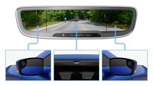 The CLEARVIEW interior mirror displays a customizable live video feed from multiple rear-facing cameras mounted on the exterior of the vehicle.