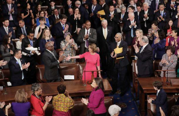 PHOTO: Speaker-designate Rep. Nancy Pelosi is applauded by members of Congress after being nominated during the first session of the 116th Congress at the U.S. Capitol, Jan. 03, 2019 in Washington. (Chip Somodevilla/Getty Images)