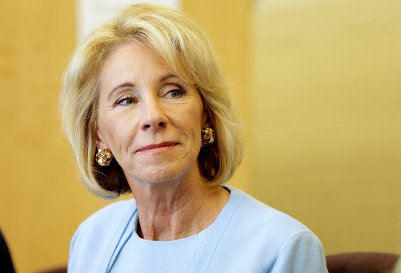 Secretary of Education Betsy DeVos has pushed for a federal school voucher program and tax funding of religious schools. (Joshua Roberts / Reuters)
