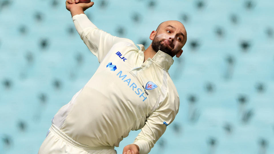 Nathan Lyon, pictured here in action for NSW against Victoria in the Sheffield Shield.