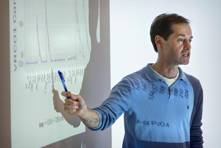 Peter Gilbert, head of Biostatistics, Bioinformatics and Epidemiology, speaks during a Vaccine Trials Network meeting at Fred Hutchinson Cancer Research Center in Seattle, Washington