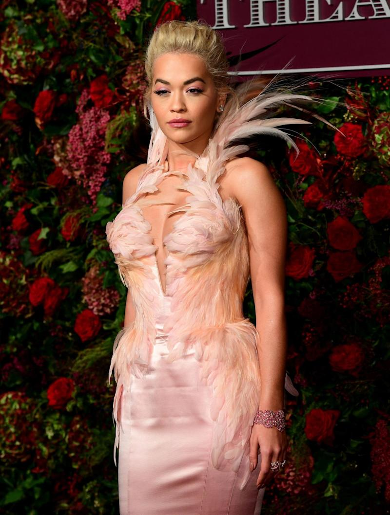 Rita Ora wearing archive Thierry Mugler at the 2018 Evening Standard Theatre Awards (PA)