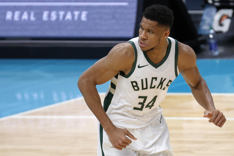 Milwaukee Bucks superstar Giannis Antetokounmpo is averaging a 27-11-6 for the NBA's leader in net rating. (Jared C. Tilton/Getty Images)