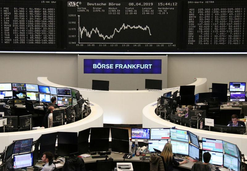 The German share price index DAX graph is pictured at the stock exchange in Frankfurt, Germany, April 8, 2019. REUTERS/Staff