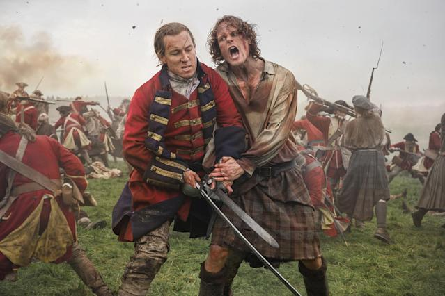 Tobias Menzies as Black Jack Randall) and Sam Heughan as Jamie Fraser in Starz's <i>Outlander</i>. (Photo: Starz)
