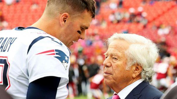 PHOTO: New England Patriots quarterback Tom Brady and Patriots owner Robert Kraft speak before an NFL game against the Washington Redskins at FedEx Field in Landover, Md., on Oct 6, 2019. (Steve Jacobson/Image of Sport via Newscom)