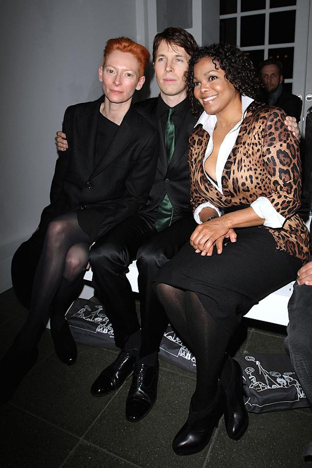 "Much more glam at Pringle were Tilda Swinton and Janet Jackson, who took to the front row with photographer Ryan McGinley. Swinton stars in the brand's spring video and print campaign, which McGinley shot. Danny Martindale/<a href=""http://www.wireimage.com"" target=""new"">WireImage.com</a> - February 22, 2010"