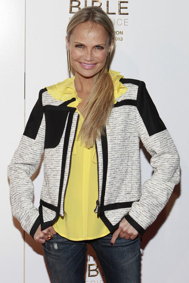 """Kristin Chenoweth arrives at """"The Bible Experience"""" opening night gala, a rare exhibit of biblical artifacts, in New York City on Tuesday, March 19 in New York."""