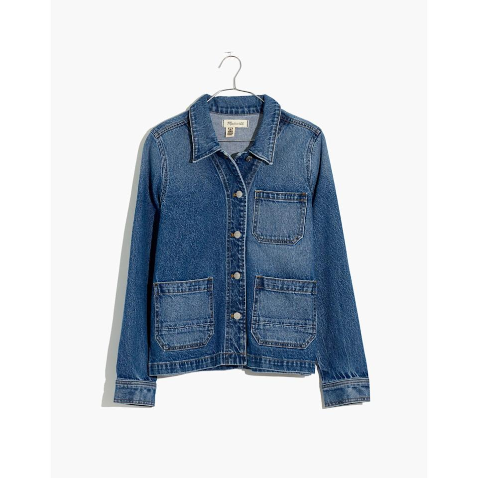 """<p><strong>Madewell</strong></p><p>madewell.com</p><p><a href=""""https://go.redirectingat.com?id=74968X1596630&url=https%3A%2F%2Fwww.madewell.com%2Fdenim-ashwood-chore-coat-in-freemont-wash-AI155.html&sref=https%3A%2F%2Fwww.elle.com%2Ffashion%2Fshopping%2Fg33350117%2Fmadewell-sale-july-2020%2F"""" rel=""""nofollow noopener"""" target=""""_blank"""" data-ylk=""""slk:SHOP IT"""" class=""""link rapid-noclick-resp"""">SHOP IT</a></p><p><strong><del>$135</del> <del>$110</del> $66</strong></p><p>I bought a <a href=""""https://www.instagram.com/p/BvaQgd4FRKK/"""" rel=""""nofollow noopener"""" target=""""_blank"""" data-ylk=""""slk:similar boxy denim chore coat"""" class=""""link rapid-noclick-resp"""">similar boxy denim chore coat</a> in Amsterdam two years ago, and it's my favorite piece of clothing. If you're looking for a denim jacket to add a chic flare to everything it's paired with, go for this wash and don't look back. </p>"""