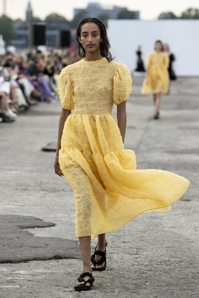 <p>Cecile Bahnsen is always romantic and always dreamy. Even in head-to-toe black, the puff sleeves, airy silk materials, and draped silhouettes give off that elegant vibe we all so strive for. This season was no exception, debuting puff sleeves, full skirts, feathered dresses, and wrap tops alike.</p>
