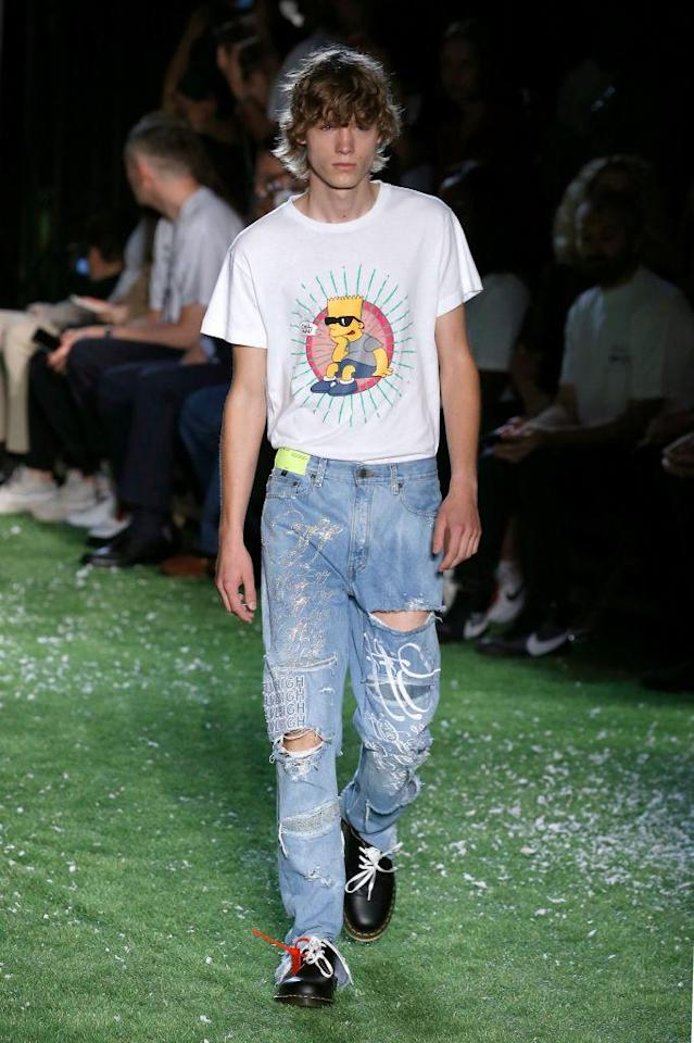 <p>Model wears Bart Simpson T-shirt with distressed jeans at the Spring 2019 Off-White men's show in Paris. (Photo: Getty Images) </p>