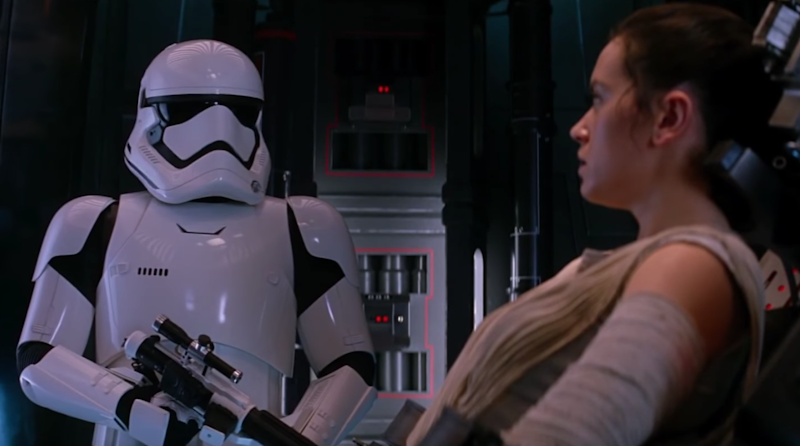 Rey uses the Force on a Stormtrooper (Daniel Craig) in Star Wars: The Force Awakens: Disney/Lucasfilms
