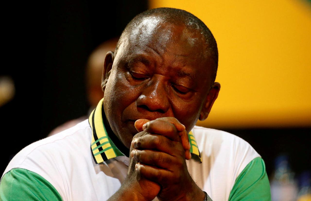 Newly elected president of the ANC Cyril Ramaphosa during the 54th National Conference of the ruling African National Congress (ANC) at the Nasrec Expo Centre in Johannesburg, South Africa December 18, 2017. REUTERS/Siphiwe Sibeko     TPX IMAGES OF THE DAY