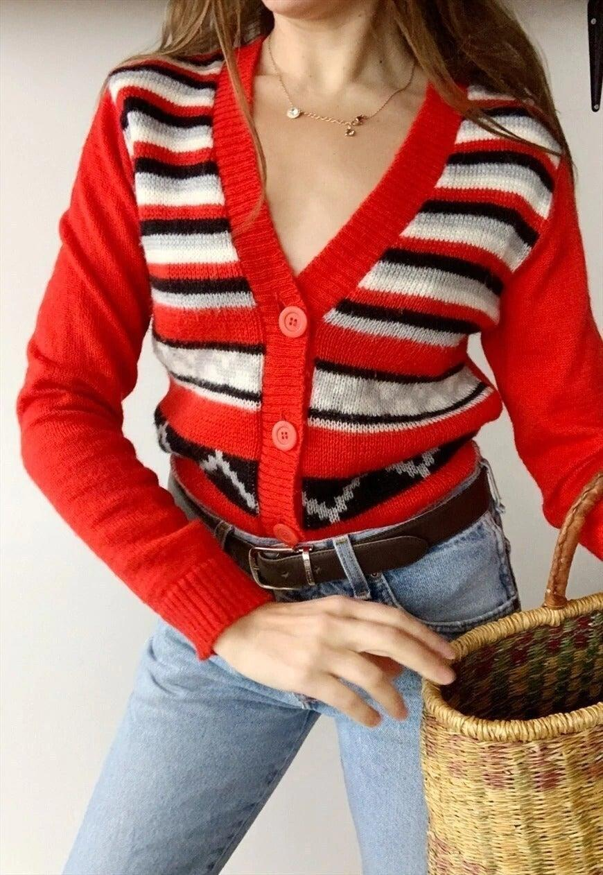 "I'm so pleased the cardigan has made its glorious return, as now there are so many vintage styles to choose from, whether you prefer festive Fair Isle or countryside-inspired argyle. I've had my eye on this striped number from ASOS Marketplace for a while. <br><br><strong>Vintaholic</strong> Vintage 50s Folk Countryside Knit Christmas Cardigan, $, available at <a href=""https://marketplace.asos.com/listing/cardigans/vintage-50s-folk-countryside-knit-christmas-cardigan-jumper/5916778?"" rel=""nofollow noopener"" target=""_blank"" data-ylk=""slk:asos marketplace"" class=""link rapid-noclick-resp"">asos marketplace</a>"