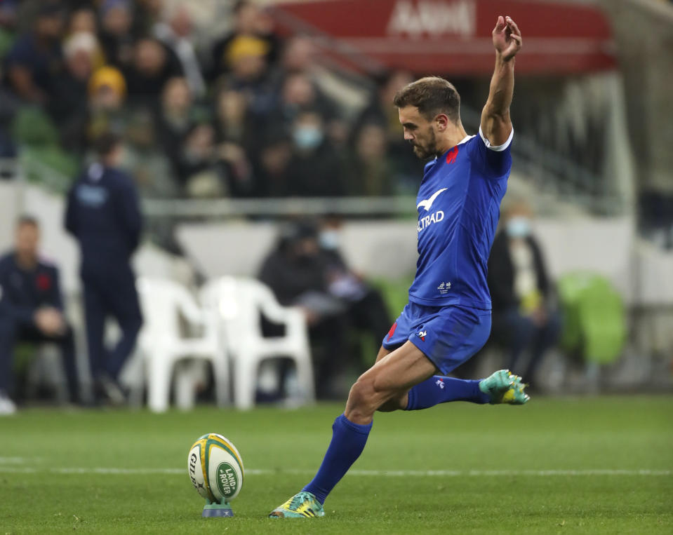 France's Melvyn Jaminet kicks a penalty goal during the second rugby test between France and Australia in Melbourne, Australia, Tuesday, July 13, 2021. (AP Photo/Asanka Brendon Ratnayake)