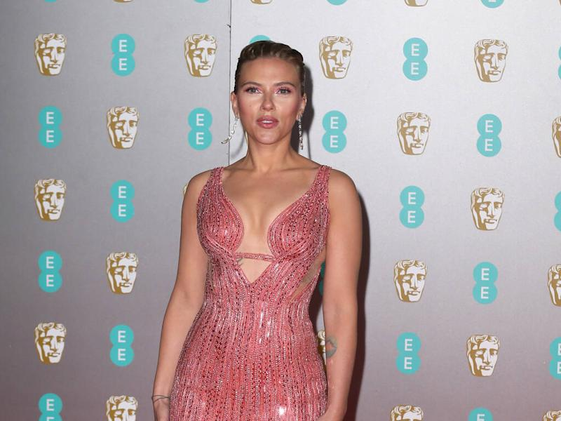 Scarlett Johansson leads wave of colour in pink Versace dress at BAFTAs