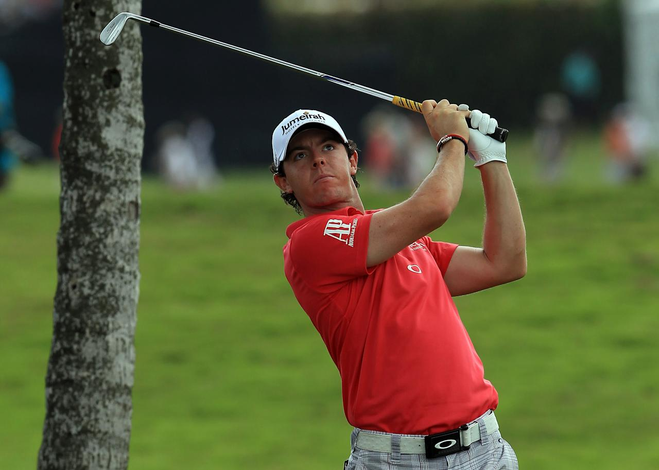 MIAMI, FL - MARCH 10:  Rory McIlroy of Northern Ireland plays his second shot at the par 5, 1st hole during the third round of the World Golf Championship Cadillac Championship on the TPC Blue Monster Course at Doral Golf Resort And Spa on March 10, 2012 in Miami, Florida.  (Photo by David Cannon/Getty Images)