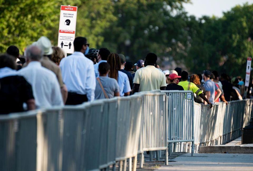 <p>A crowd of people waited in line to pay their respects to Congressman Lewis, who will lie in state at the Capitol Monday and Tuesday. </p>