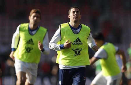 Chelsea's Eden Hazard warms up before the match