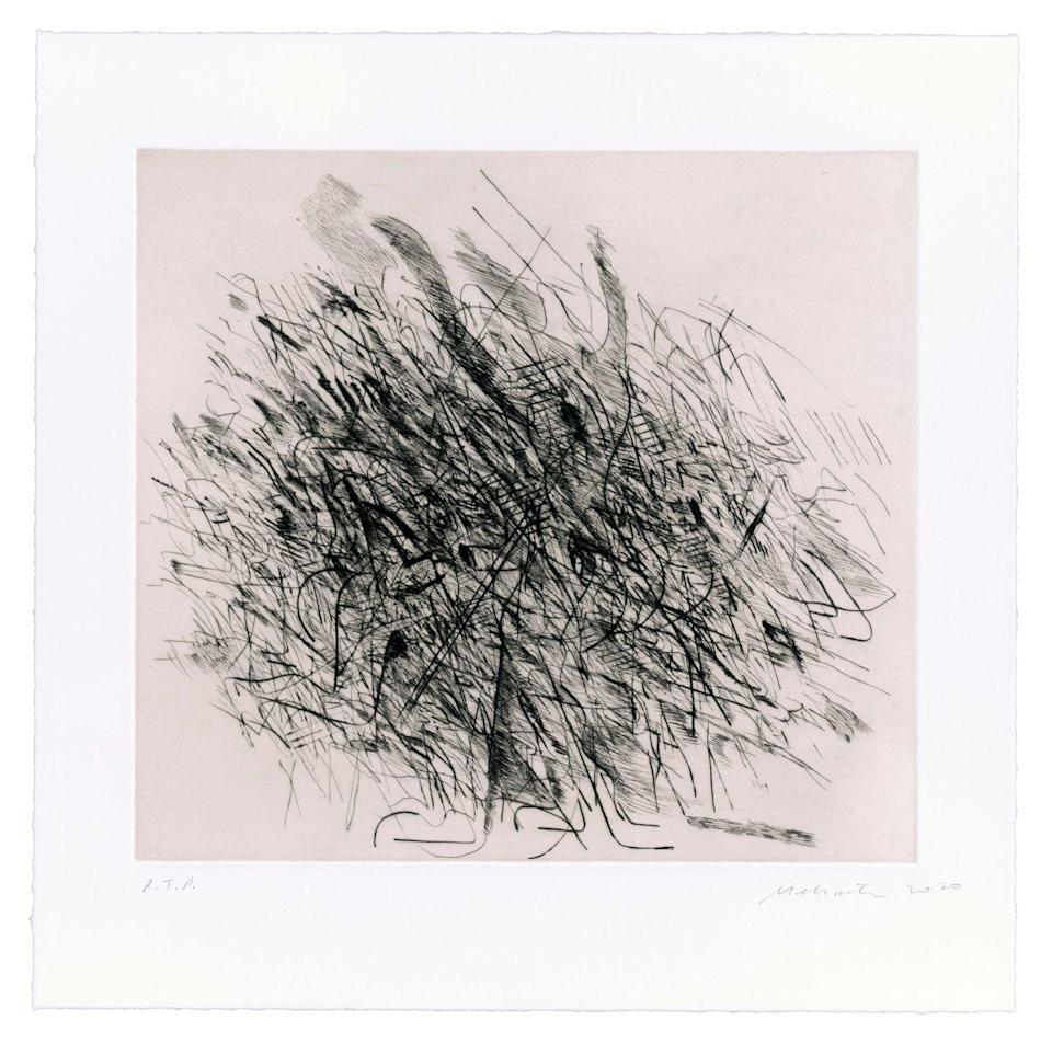 <p>Mehretu scaled down her penchant for large-scale works to create this abstract composition.</p>