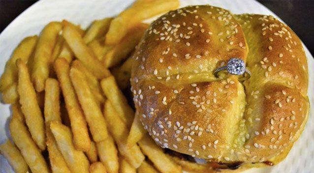 The diamond ring is baked into the burger's bun. Source: Facebook/ Pauli's Northend