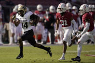 Colorado wide receiver Dimitri Stanley (14) runs toward the end zone to score against Stanford during the first half of an NCAA college football game in Stanford, Calif., Saturday, Nov. 14, 2020. (AP Photo/Jeff Chiu)