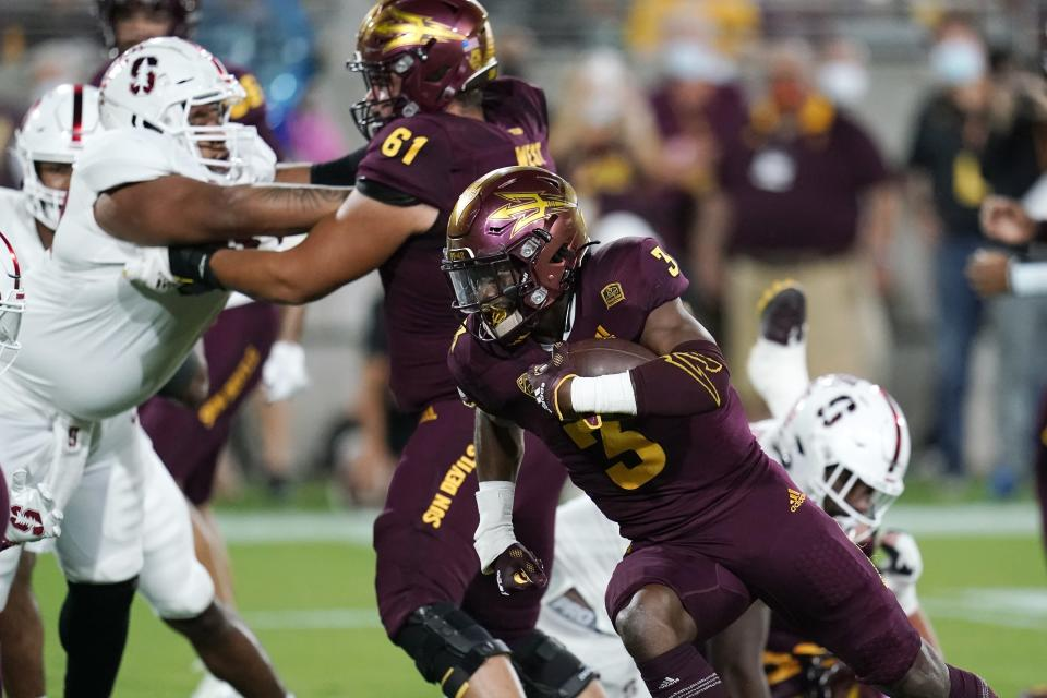 Arizona State running back Rachaad White (3) runs for a touchdown against Stanford during the first half of an NCAA college football game Friday, Oct. 8, 2021, in Tempe, Ariz. (AP Photo/Ross D. Franklin)